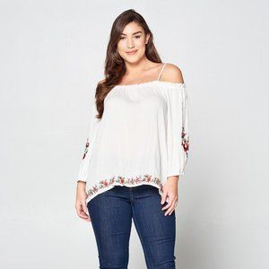 Plus Size White Cold Shoulder Rose Embroidered Top